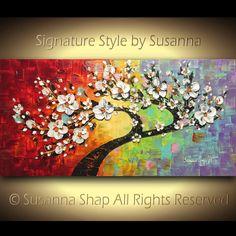 Árbol ORIGINAL blanco flores cerezo flor de paisaje, la pintura, aceite, espátula, Textured, multicolor, por Susanna 48 x 24