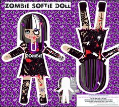 Creepy, but yet sweet zombie doll fabric by katarina on Spoonflower - custom fabric  Kona Cotton, not in silk.  hand will be cut off and not that sturdy.