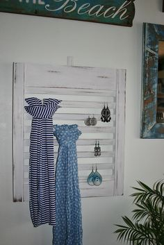 Shabby chic earring / scarf display repurposed from old shutter doors - available at Paradise Dreams, follow us on facebook https://www.facebook.com/ParadiseDreamsCollaroy