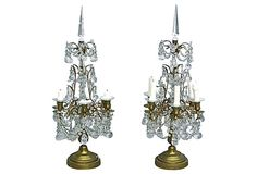 Pair of antique French crystal girandoles candleholders with brass arms and holders. Makers Mark, French Antiques, Wall Sconces, Home Accessories, Candle Holders, Art Deco, Chandelier, Table Lamp, Bronze