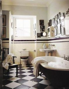 Bathroom, Art Deco Bathroom Style : great art deco bathroom. I love the frame grouping!