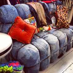 Denim sofa made of vintage jeans... Found in a vintage shop in Truro.