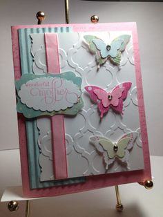 Beautiful triple die cut butterfly with dry embossed background card for Mother's Day
