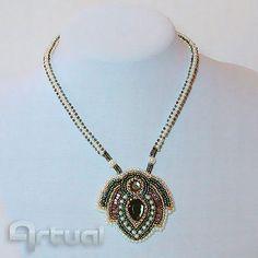 OOAK bead embroidery pendant