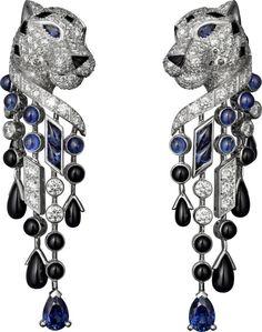 Panthère de Cartier earrings Platinum, sapphires, onyx, diamonds Onyx Diamonds, Big Cats, Earrings Platinum, De Cartier, Cartier Earrings, Jewelry