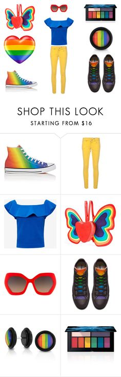 """rainbow"" by fashion-queendom ❤ liked on Polyvore featuring Converse, M Missoni, Ted Baker, Current Mood, Alice + Olivia, Bling Jewelry, Smashbox and pride"