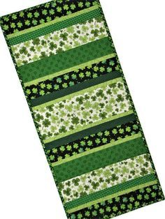 """St. Patrick's Day Quilted Table Runner, Shamrock Table Mat, Scrappy Strips Table Runner, Green and White, 28""""x12"""", Quiltsy Handmade by VillageQuilts on Etsy"""