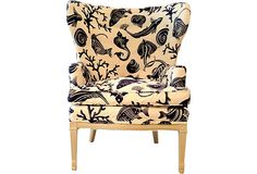 "As described by Mission Avenue Studio  Vintage French wing chair custom-upholstered in WalFab cotton blend. Hand-painted. Arms, 25.5""H; seat, 22""H."