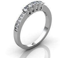 Stunning Matching Diamond Wedding Band: White Gold Engagement Ring With Four Large Diamond Stones