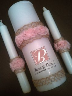 Personalized Unity Candle Set for Weddings - Rosebud Lace Burlap You Choose Colors Blush Pink, Teal, Purple, White