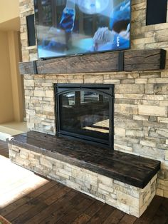 Most up-to-date Pics Fireplace Hearth ideas Strategies Rustic beams / reclaimed wood / fireplace mantle/ hearth/ rustic chic decor / cozy home Handcrafted Reclaimed Wood Fireplace, Wood Mantle Fireplace, Home Fireplace, Fireplace Remodel, Fireplace Design, Fireplace Ideas, Stone Fireplace Makeover, Rustic Fireplace Mantels, Stone Veneer Fireplace