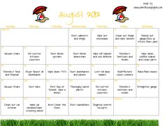 Palmettos and Pigtails - August Cleaning Calendar