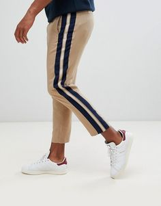 Find the best selection of ASOS DESIGN tapered crop smart pants in camel with side stripe. Shop today with free delivery and returns (Ts&Cs apply) with ASOS! Asos, Nike Socks Women, Men Trousers, Man Pants, Beige Pants, Stripe Pants, Formal Men Outfit, Casual Trends, White Shirt Men