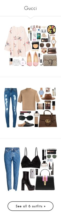 """Gucci"" by thecaitlinpeters ❤ liked on Polyvore featuring MANGO, Christian Louboutin, Gucci, Hourglass Cosmetics, Kate Spade, NARS Cosmetics, Bobbi Brown Cosmetics, MAC Cosmetics, Organic Glam and Chanel"