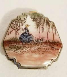 Antique Guilloche enameled Compact girl with dogs willow trees Victorian
