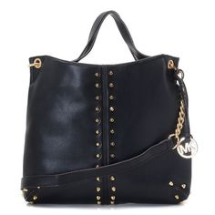 """Michael Kors Uptown Astor Large Shoulder Tote Black Lambskin Leather Products Description * Black leather with golden studs. * Golden hardware. * Top handles. * Shoulder strap with rings and chain detail. * Snap closure. * Hanging logo charm. * Stud detail on front and sides. * 12""""H x 16""""W x 3""""D."""