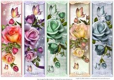 Roses Butterflly Bookmarks on Craftsuprint designed by Gillian Hutchinson - 5 mixed butterfly
