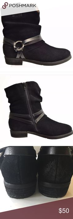 """Corso Como Slouchy Suede Ankle Boots, Black, 7 Corso Como 'Seaton' Slouchy Zip-Up Ankle Boot. Size: 7 Retail: $169. True black color. Slouchy style. Western-inspired leather harness detail around ankle. Crafted from smooth, worn suede for an earthy, authentic look. Side zip closure. 🔹Heel height: 1"""". 🔹100% suede upper with synthetic sole. 💎Excellent pre-loved condition! No visible wear on exterior or interior. Very minor normal wear on soles. You may mistake these for brand new! Corso…"""