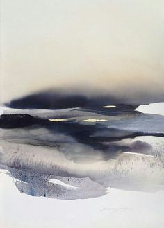 "yama-bato: "" Sabrina Garrasi ""Over the Clouds""Watercolor, ink, Pigment, Gouache and Gold Leaf on Fine Art Cotton Paper.Size: in x in cm x 77 cm) "" Watercolor Landscape, Abstract Landscape, Watercolor Paintings, Abstract Art, Watercolours, Gouache Painting, Water Color Abstract, Landscape Paintings, Watercolor Water"