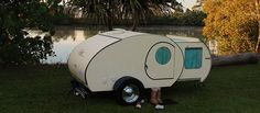Small enough to be towed easily, luxurious enough to be on par with large campers and RVs, Gidget Retro Teardrop Camper is great for traveling.   #camping #camper #travel #outdoors #adventure