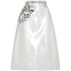 Christopher Kane Metallic PVC midi skirt ($2,015) ❤ liked on Polyvore featuring skirts, silver, mid calf skirts, a line skirt, pvc midi skirt, calf length skirts and white midi skirt