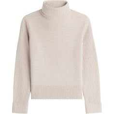 Vanessa Seward Merino Wool Turtleneck Pullover (290 CAD) ❤ liked on Polyvore featuring tops, sweaters, beige, boxy sweater, turtle neck sweater, boxy turtleneck sweater, pink pullover sweater and pink turtleneck sweater