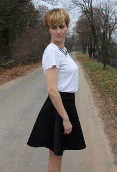 "♥ this look on whatiwear.com by MARTA K. ""NEOPRENE SKIRT"" http://www.whatiwear.com/look/detail/146232"