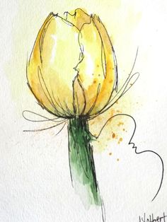 """Original artwork of a lovely single watercolor tulip flower rendered in pen, ink and watercolor. It is titled """"Yellow Gold Tulip Flower"""" and is signed and dated at the bottom with the title on the back. It is a lovely tulip flower done in shades of yellow and a soft gold with tiny"""
