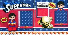 SUPERMAN ~ BOY 2 PREMADE SCRAPBOOK PAGES Paper Piecing layout 4 album CHERRY  #BowlFullofCherriesScrapbooking