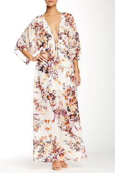 Floral V-Neck Maxi Dress by Romeo & Juliet Couture on @HauteLook
