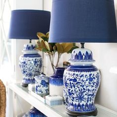 Navy Lamp Shade You are in the right place about home design cheap easy diy Here we offer you the mo Blue And White Lamp, Blue And White Living Room, Blue And White China, Blue China, Blue Lamps, White Lamps, Tall Lamps, Navy And White, Blue Rooms