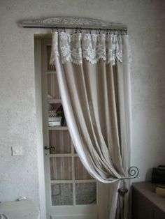 ~Beautiful natural color~fabric curtains with ruffles and white cotton laces~