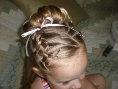 Lil girl hair up do. Trinitys hair for Niccs wedding