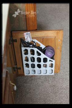 bathroom storage for hairdryer, flat iron, etc