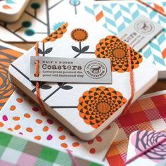 Funk Disposable Drinks Coasters - Orange Chrysanthemum