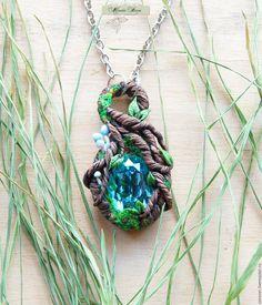 """Купить Кулон """"Elves lake"""" (полимерная глина, ювелирный камень) - болотный, зеленый, коричневый, лес"""