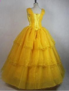 Adult Beauty and The Beast Princess Belle Cosplay Costume Ball Gown Fancy Dress Princess Belle Costume, Princess Ball Gowns, Princess Dresses, Disney Princess, Belle Cosplay, Ball Dresses, Bridal Dresses, Beauty And The Beast Dress, Belle