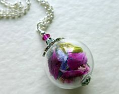 """Dried Flower Necklace,""""Midsummer Magic"""" Necklace, Cloche Necklace, Vintage Style Necklace, Sterling Silver Necklace, Pendant"""