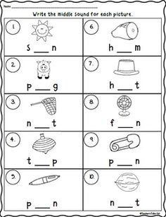CVC Words Worksheets using Initial, Medial, and Final Sounds Distance Learning English Worksheets For Kindergarten, Vowel Worksheets, Kindergarten Learning, Kindergarten Math Worksheets, Teaching, Cvc Words, Three Letter Words, Phonics Reading, Phonics Games