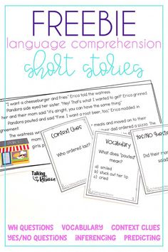 Grab a free printable resource to work on language comprehension in your speech therapy or kindergar Comprehension Activities, Speech Therapy Activities, Language Activities, Reading Comprehension, Auditory Processing Activities, Articulation Activities, Listening Activities, Phonics, Speech Language Therapy