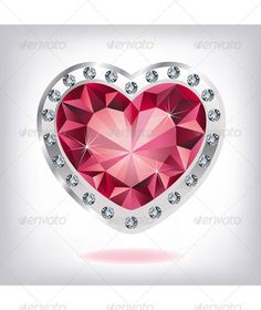 heart ruby tattoo | Ruby heart in diamonds - Valentines Seasons/Holidays