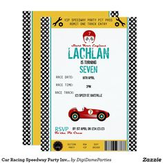 Car Racing Speedway Party Invitation Template by The Digi Dame Parties on Zazzle www.zazzle.com/digidameparties*