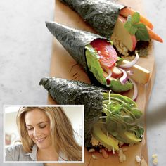 Alicia Silverstone's Toasted Nori Burritos recipe. 1 umeboshi plum, 1 cup cooked brown rice (leftover works great), 2 sheets toasted nori, 2 romaine lettuce leaves, 1 avocado, sliced, 1 apple, sliced, 4 fresh basil leaves, Leaves from 6 cilantro sprigs, Leftover cooked kale or salad greens.