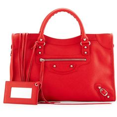 Balenciaga Classic City Calfskin Shoulder Bag ($1,910) ❤ liked on Polyvore featuring bags, handbags, shoulder bags, red, zip purse, top handle handbags, buckle purses, studded shoulder bag and top handle purse