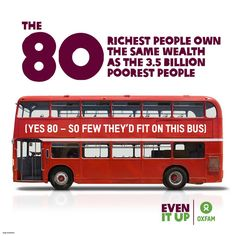 Breaking news: you're now living in a world where the 80 richest people – that's just one busload – own the same amount of wealth as half of the world's population!   To tackle inequality, the world needs to know how bad it's got – please PIN this to spread the word.