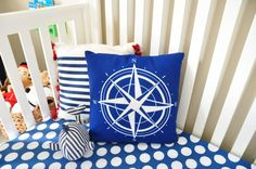 Ideas for Decorating a Nautical Home - seaside nautical design ideas Nautical Nursery Decor, Nautical Pillows, Nautical Home, Nursery Themes, Nursery Ideas, Kids Bedroom Designs, Pillow Room, Nautical Design, Blue Blanket