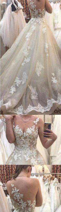 Sweep Train Wedding Dresses #weddingdress