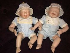 """Rare Set Of """"Tickles"""" Laughing Twin Baby Boys Porcelain By Kathy Hippensteel  