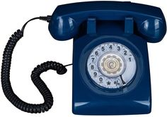 Rotary Dial 1960s Classic Old Fashioned Retro Vintage Bell Desk Telephone Blue #kk
