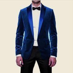Men New Party Wear Custom Tailored Designer Royal Blue Velvet Blazer Jacket Coat #Handmade #Blazers